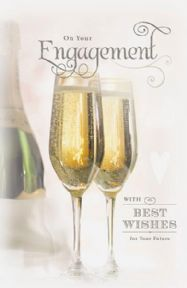 Engagement Champagne Flutes Card